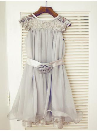 Scoop Neck A-Line/Princess Flower Girl Dresses Chiffon/Tulle/Lace Ruffles/Sash/Flower(s) Sleeveless Tea-length