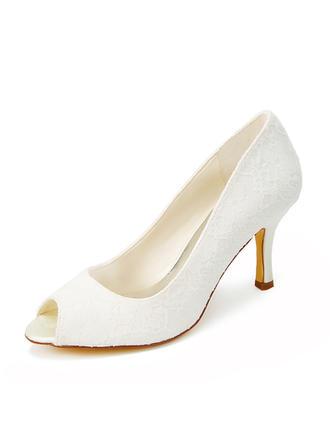 Women's Peep Toe Sandals Spool Heel Lace Wedding Shoes