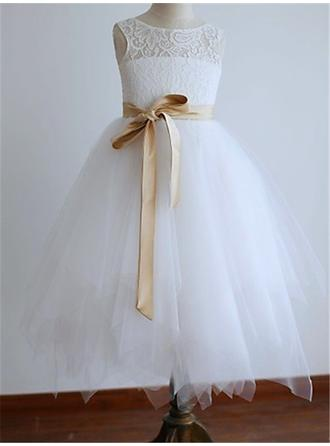 A-Line/Princess Scoop Neck Tea-length With Sash Sleeveless Flower Girl Dress (010211764)