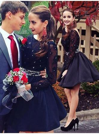 Chic Satin Homecoming Dresses A-Line/Princess Short/Mini Scoop Neck Long Sleeves