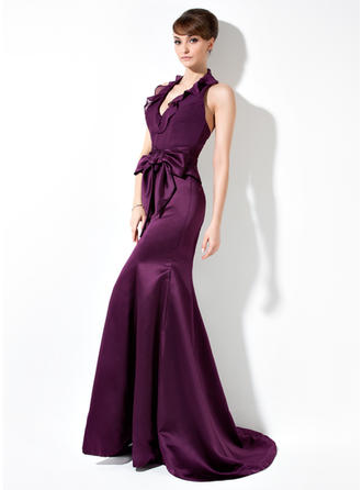 Chiffon Satin Sleeveless Trumpet/Mermaid Bridesmaid Dresses Halter Bow(s) Cascading Ruffles Sweep Train