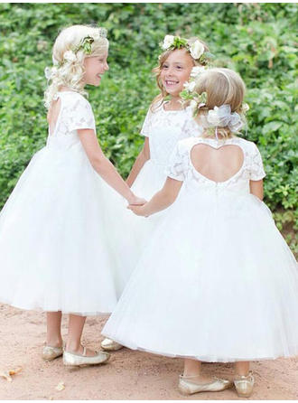 Stunning Scoop Neck Ball Gown Flower Girl Dresses Ankle-length Tulle/Lace Short Sleeves