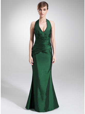 Trumpet/Mermaid Halter Floor-Length Taffeta Bridesmaid Dress With Ruffle (007000875)