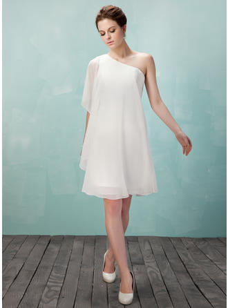 Sheath/Column One-Shoulder Knee-Length Chiffon Homecoming Dresses