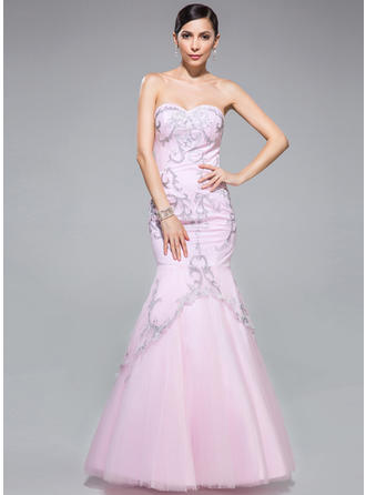 Tulle Sleeveless Trumpet/Mermaid Prom Dresses Sweetheart Embroidered Floor-Length