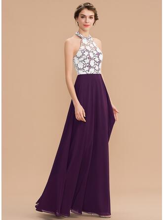 A-Line Halter Floor-Length Chiffon Lace Bridesmaid Dress