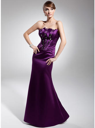 Glamorous Satin Trumpet/Mermaid Zipper Up Evening Dresses