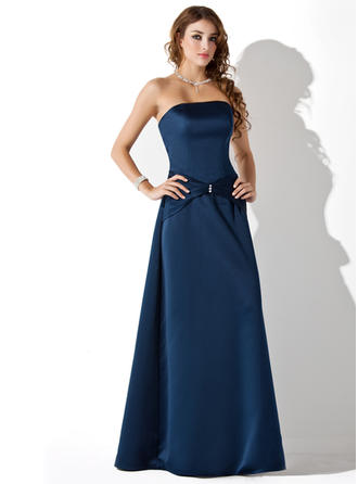 Satin Sleeveless A-Line/Princess Bridesmaid Dresses Strapless Ruffle Beading Floor-Length