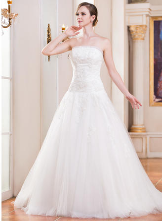 Beautiful Strapless Ball-Gown Wedding Dresses Cathedral Train Tulle Sleeveless