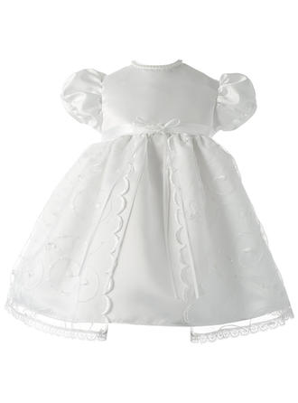 Satin Scoop Neck Lace Baby Girl's Christening Gowns With Short Sleeves
