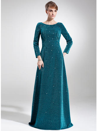 Empire Scoop Neck Velvet Long Sleeves Sweep Train Beading Mother of the Bride Dresses (008005916)