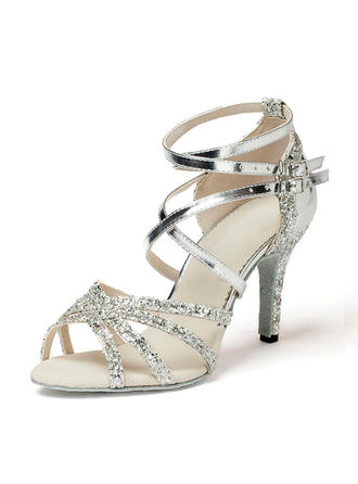 Women's Latin Heels Sandals Leatherette Sparkling Glitter Dance Shoes (053182878)