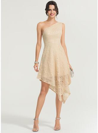 A-Line One-Shoulder Asymmetrical Lace Cocktail Dress