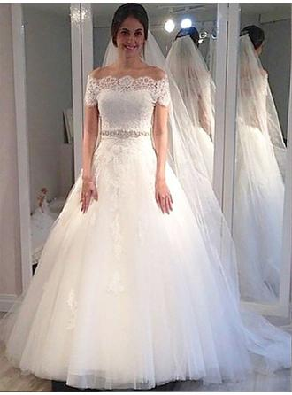 Ball-Gown Off-The-Shoulder Sweep Train Wedding Dress With Sash