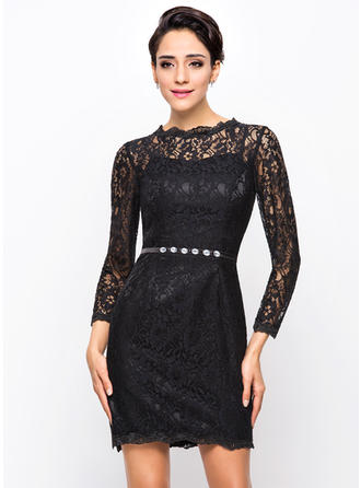 Sheath/Column Scoop Neck Lace Long Sleeves Short/Mini Beading Cocktail Dresses