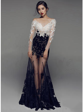 Trumpet/Mermaid V-neck Floor-Length Evening Dress With Lace