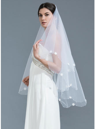 Waltz Bridal Veils Tulle One-tier Classic With Beaded Edge Wedding Veils