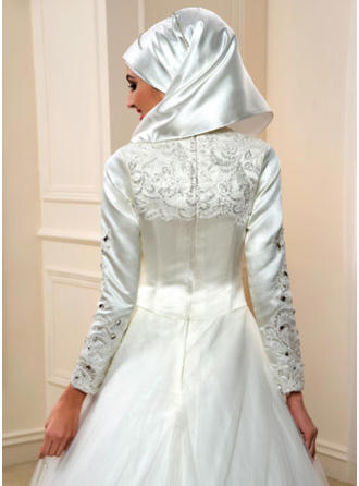 A-Linie/Princess-Linie High Neck Bodenlang Hof-schleppe Brautkleid mit Lace Perlstickerei Applikationen Spitze Pailletten
