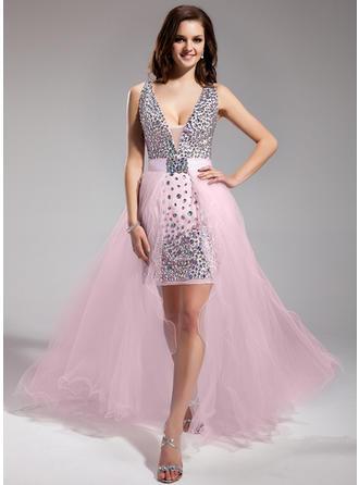 A-Line/Princess V-neck Asymmetrical Detachable Prom Dresses With Beading
