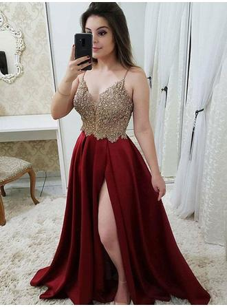 Chic Satin Prom Dresses A-Line/Princess Floor-Length V-neck Sleeveless