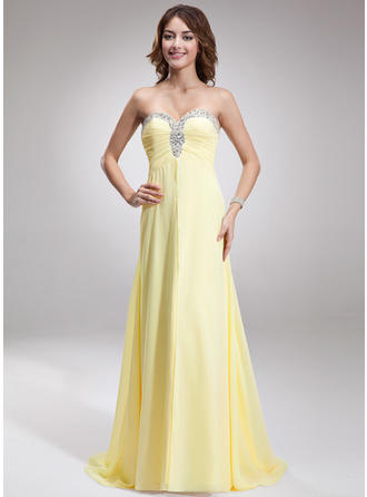 A-Line/Princess Sweetheart Chiffon Sleeveless Sweep Train Ruffle Beading Evening Dresses