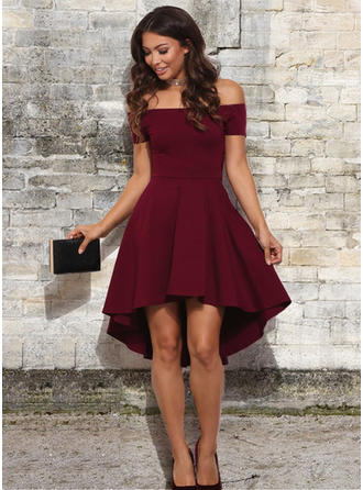 A-Line/Princess Off-the-Shoulder Stretch Crepe Short Sleeves Asymmetrical Ruffle Homecoming Dresses