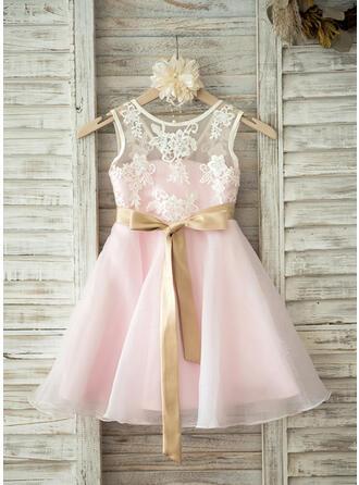 A-Line/Princess Knee-length Flower Girl Dress - Organza/Lace Sleeveless Scoop Neck With Sash/V Back