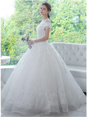 Ball-Gown Scoop Floor-Length Wedding Dress With Beading Appliques Lace