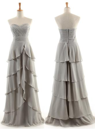 Chiffon Sleeveless A-Line/Princess Bridesmaid Dresses Sweetheart Cascading Ruffles Floor-Length