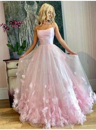 Elegant Tulle Prom Dresses A-Line/Princess Floor-Length Square Neckline Sleeveless