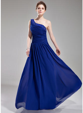 A-Line/Princess One-Shoulder Floor-Length Evening Dresses With Ruffle Beading