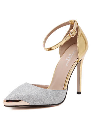 Women's Closed Toe Pumps Sandals Stiletto Heel Leatherette  ...
