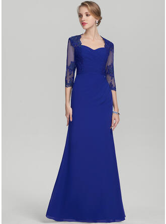 Sheath/Column Sweetheart Floor-Length Chiffon Lace Evening Dress With Ruffle