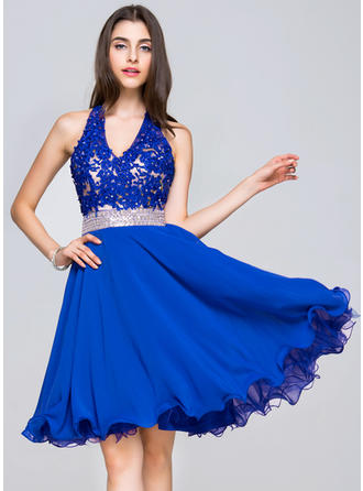 V-neck Sleeveless Chiffon Lace Modern Homecoming Dresses