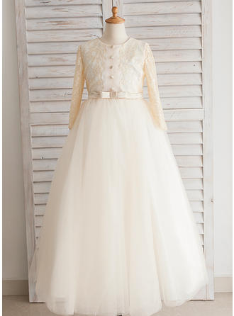Scoop Neck Ball Gown Flower Girl Dresses Satin/Tulle/Lace/Cotton Bow(s) Long Sleeves Floor-length