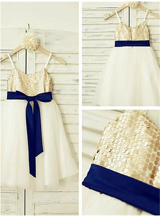 A-Line/Princess Straps Tea-length With Sash Tulle/Sequined Flower Girl Dresses