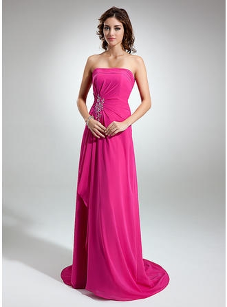 Chiffon Sleeveless A-Line/Princess Bridesmaid Dresses Strapless Beading Appliques Lace Cascading Ruffles Sweep Train