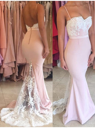 Jersey Sleeveless Trumpet/Mermaid Prom Dresses Sweetheart Lace Sweep Train