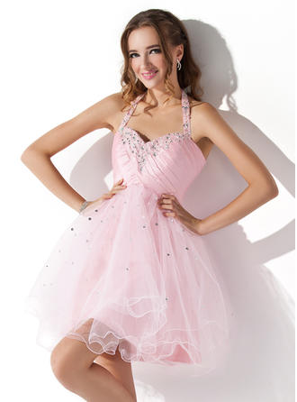 A-Line/Princess Halter Short/Mini Tulle Homecoming Dresses With Ruffle Beading Sequins