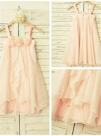 A-Line/Princess Scoop Neck Tea-length With Ruffles Chiffon Flower Girl Dresses (010211862)