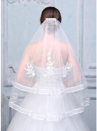 Fingertip Bridal Veils Tulle/Lace Two-tier Oval With Ribbon Edge Wedding Veils
