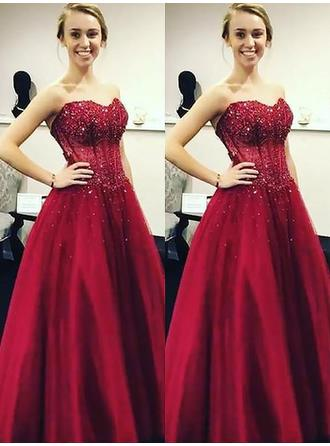 Tulle Sleeveless Ball-Gown Prom Dresses Sweetheart Beading Sequins Floor-Length