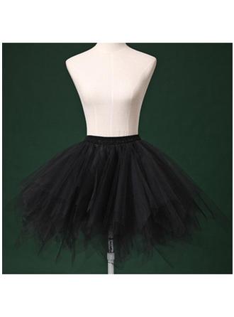 Bustle Short-length Tulle Netting/Satin/Chiffon Short Flare Slip 2 Tiers Petticoats