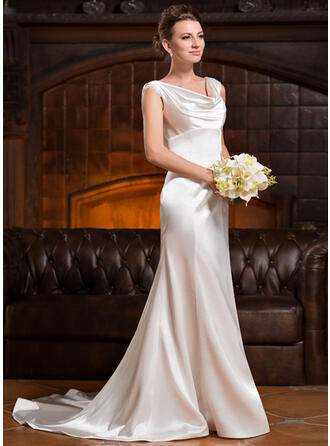 Trumpet/Mermaid Cowl Neck Court Train Charmeuse Wedding Dress With Ruffle Lace Beading Sequins