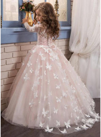 Ball Gown Scoop Neck Floor-length/Sweep Train With Appliques Satin/Tulle/Lace Flower Girl Dress