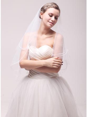 Einschichtig Schnittkante Fingerspitze Braut Schleier mit Bestickt