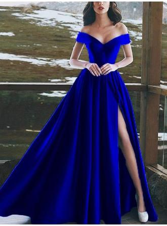 Satin Sleeveless A-Line/Princess Prom Dresses Off-the-Shoulder Ruffle Split Front Floor-Length