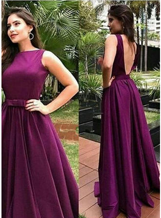 A-Line/Princess Scoop Neck Sweep Train Charmeuse Prom Dress With Bow(s)