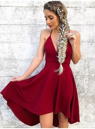 Sexy Charmeuse Homecoming Dresses A-Line/Princess Knee-Length Halter Sleeveless