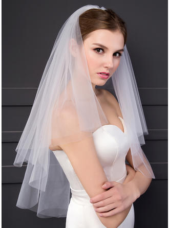 Two-tier Cut Edge Elbow Bridal Veils (006150926)